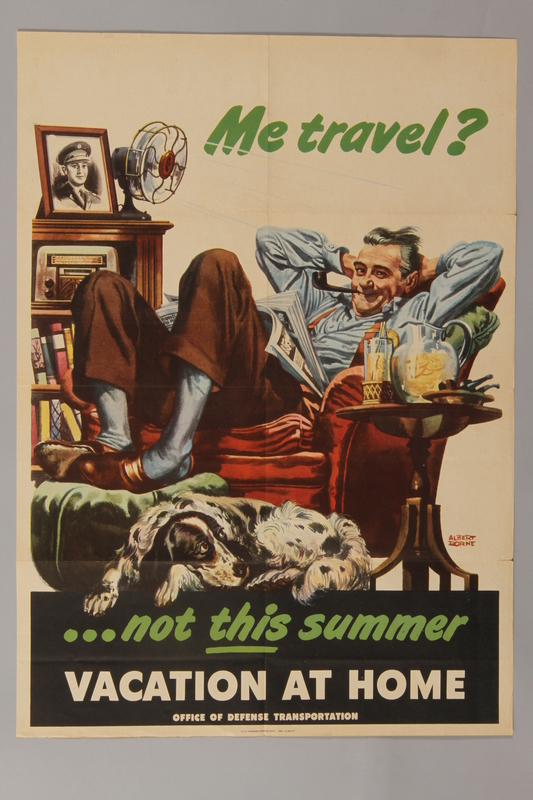 1988.42.13 front US gas rationing poster with a man reclining on a red armchair