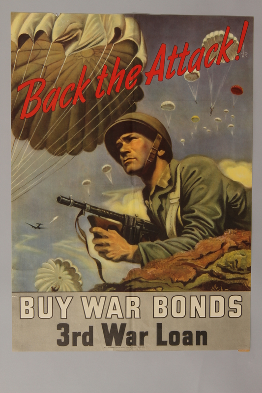 1988.42.14 front US War Bonds poster of a paratrooper with a Thompson submachine gun at the ready