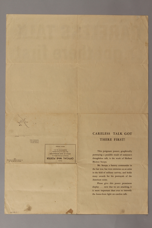 1988.42.17 front US careless talk poster of a US paratrooper shot in harness