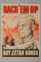 US Buy War Bonds poster with Eisenhower over a drawing of combat troops