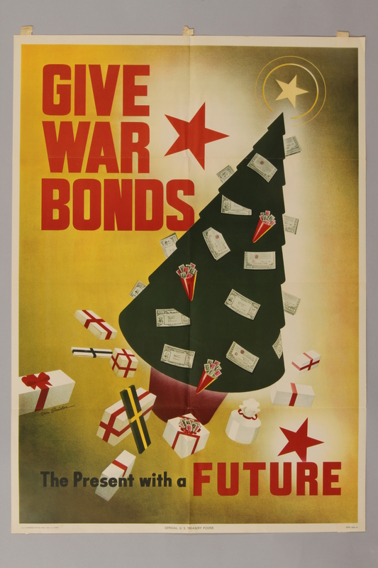 1988.42.20 front US Buy War Bonds poster depicting a Christmas tree full of war bonds