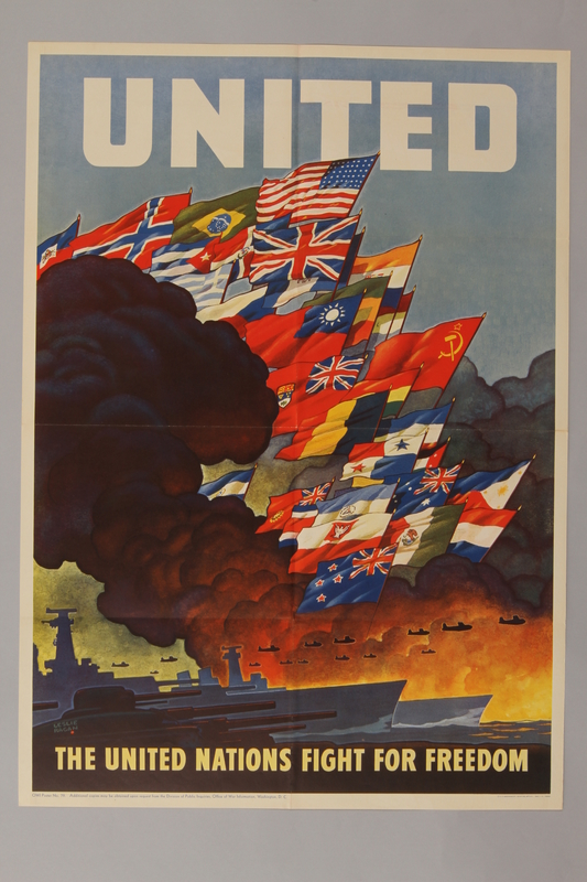 1988.42.21 front US poster of black smoke around displayed national flags
