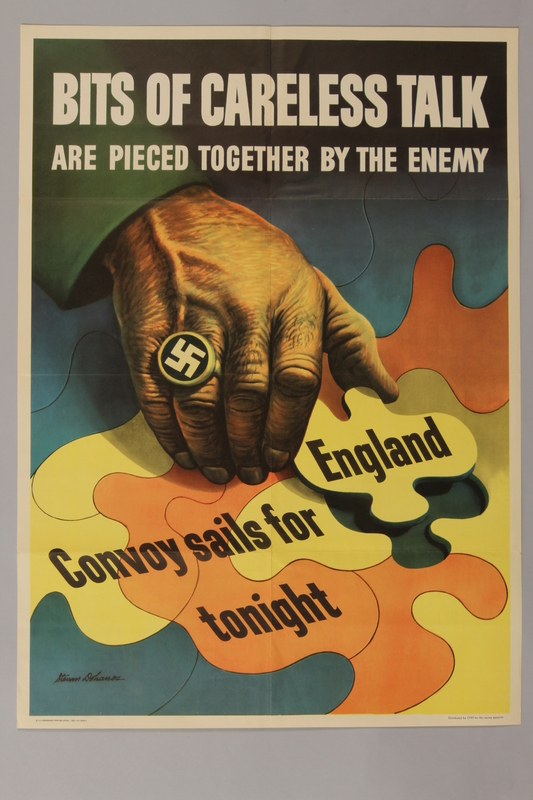 1988.42.23 front US careless talk poster of a Nazi piecing together details in a jigsaw puzzle
