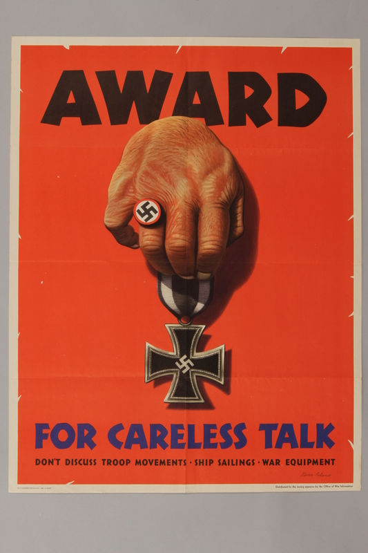 1988.42.24 front US careless talk poster of a Nazi ringed hand with an Iron Cross