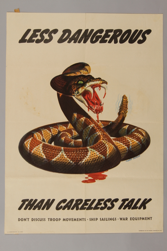 1988.42.26 front US propaganda poster showing careless talk is more dangerous than a rattlesnake