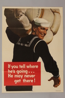 1988.42.28 front US careless talk poster with a smiling sailor ready to sail  Click to enlarge