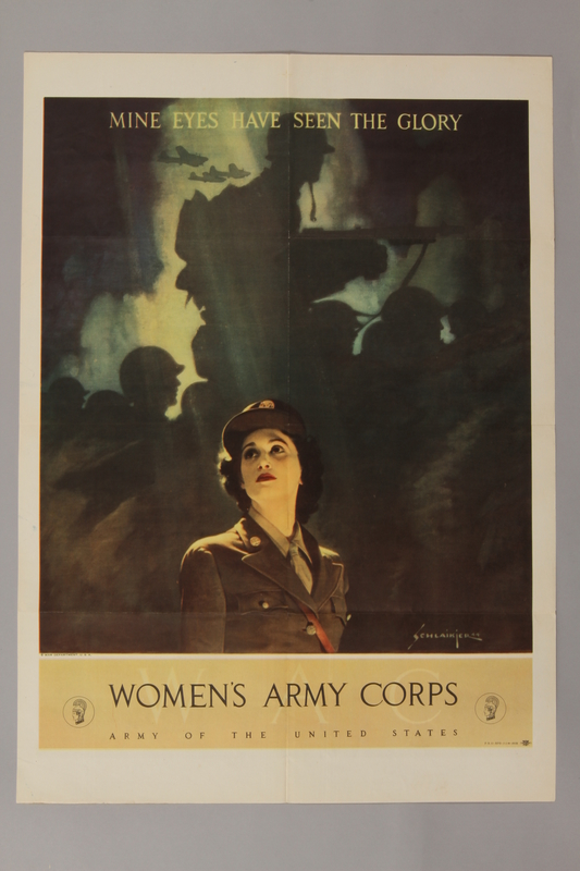 1988.42.29 front US Women's Army Corps recruitment poster depicting a woman in uniform