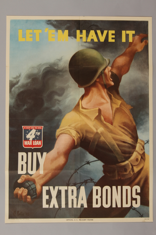 1988.42.30 front US 4th War Loan poster with a soldier throwing a grenade