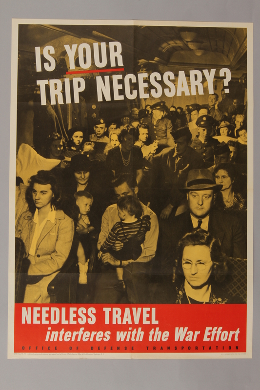 1988.42.31 front US Don't Travel poster depicting civilians and soldiers on a crowded train