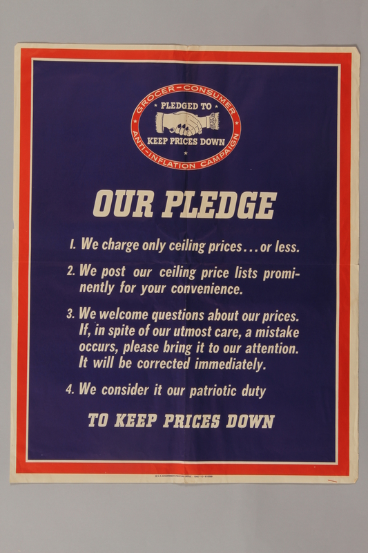 1988.42.34 front US price control poster with white text against a blue background