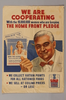 1988.42.35 front US price control poster depicting a grocer pointing to a pledge  Click to enlarge