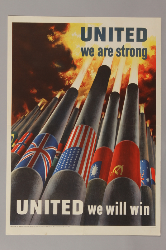 1988.42.37 front US propaganda poster with artillery gun barrels draped in Allied flags