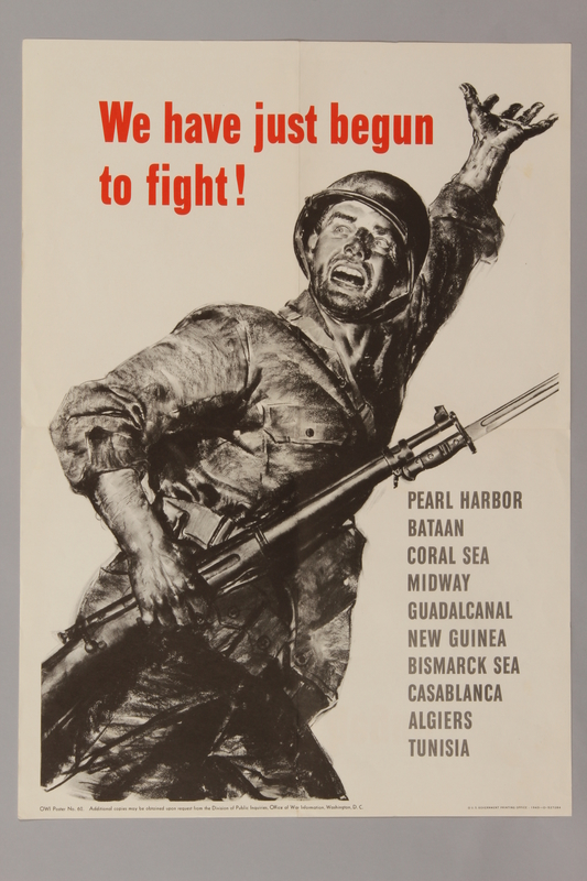 1988.42.38 front Poster depicting a soldier and a list of battles