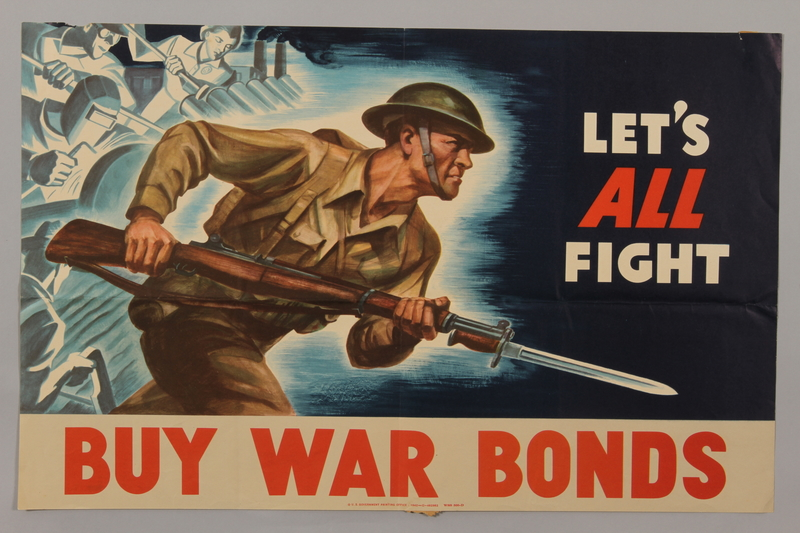 1988.42.39 front US Buy War Bonds poster of a soldier charging, bayonet ready