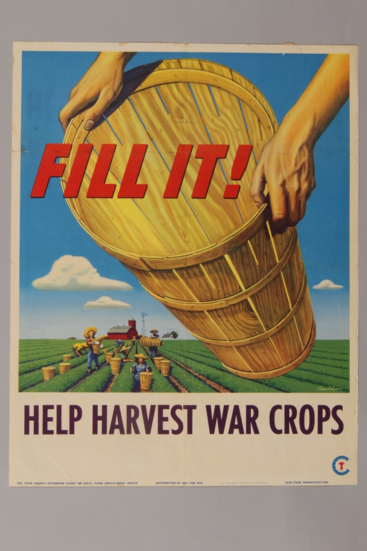 1988.42.40 front War Food poster with a basket over a field being harvested