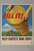 1988.42.40 front War Food poster with a basket over a field being harvested  Click to enlarge