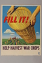 War Food poster with a basket over a field being harvested