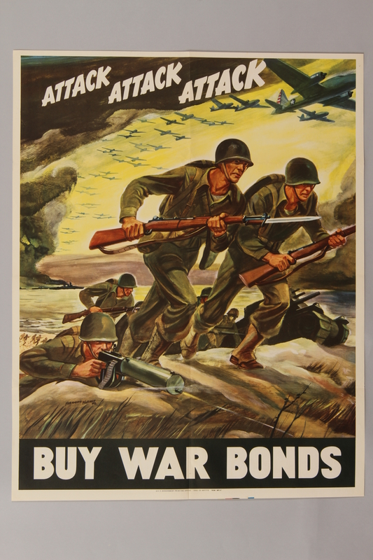 1988.42.41 front US Buy War Bonds poster of soldiers charging into battle