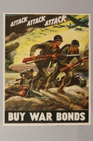 1988.42.41 front US Buy War Bonds poster of soldiers charging into battle  Click to enlarge