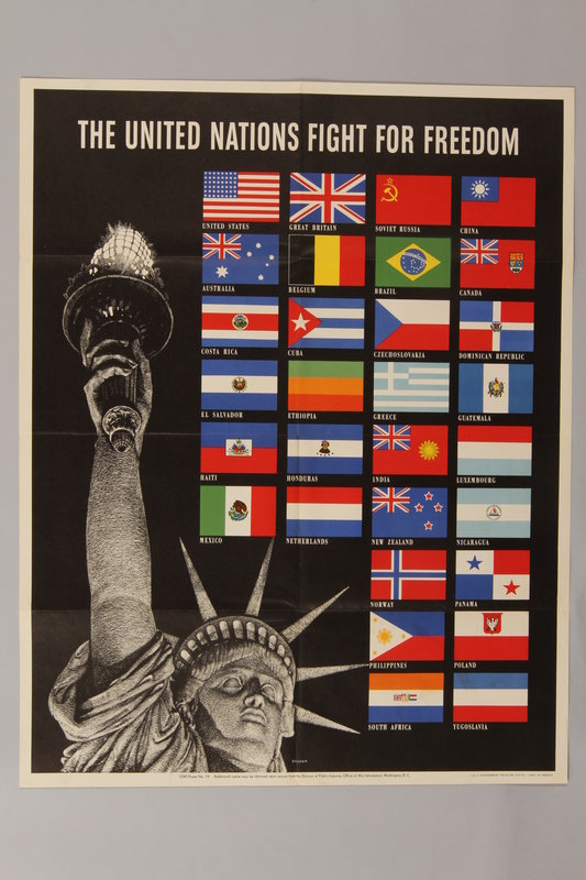 1988.42.42 front US poster depicting the Statue of Liberty and flags of the Allied Nations