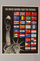 1988.42.42 front US poster depicting the Statue of Liberty and flags of the Allied Nations  Click to enlarge