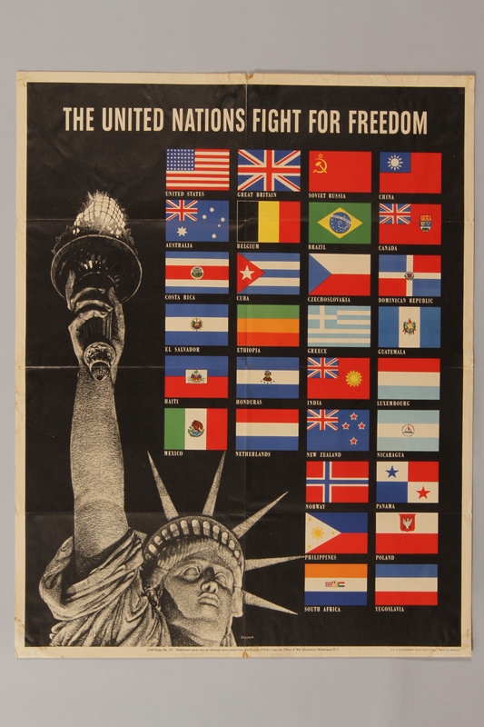 1988.42.43 front US poster depicting the Statue of Liberty and flags of Allied Nations