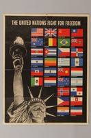 1988.42.43 front US poster depicting the Statue of Liberty and flags of Allied Nations  Click to enlarge