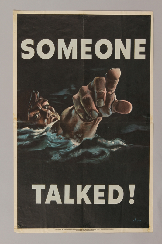 1988.42.45 front US careless talk poster depicting a drowning sailor pointing at the viewer