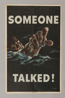 1988.42.45 front US careless talk poster depicting a drowning sailor pointing at the viewer  Click to enlarge