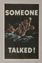US careless talk poster depicting a drowning sailor pointing at the viewer