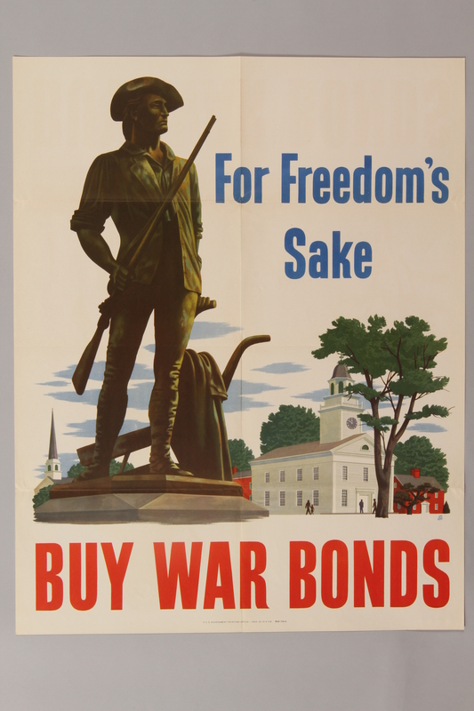 1988.42.44 front Buy War Bonds poster with an image of the Concord militiaman statue