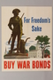 Buy War Bonds poster with an image of the Concord militiaman statue