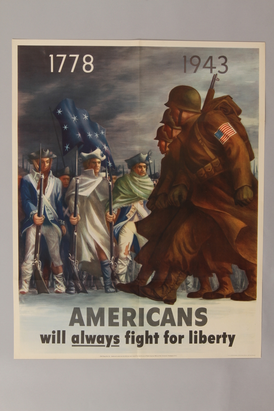 1988.42.46 front US poster depicting World War II and Revolutionary War soldiers