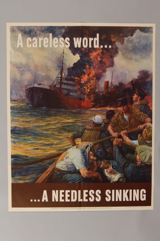 1988.42.47 front US careless talk poster depicting a burning ship