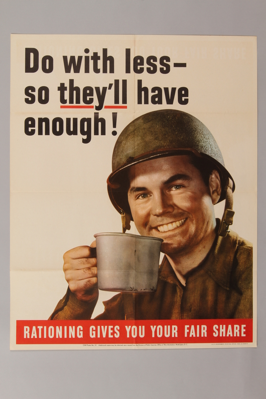 1988.42.48 front US poster depicting a smiling soldier holding a silver canteen cup