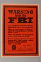 US careless talk text only orange poster warning about suspicious people