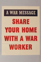 1988.42.49 front US poster with text encouraging the sharing of homes  Click to enlarge