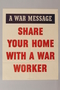 US poster with text encouraging the sharing of homes