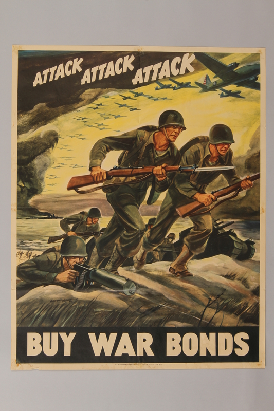 1988.42.50 front US Buy War Bonds poster depicting charging soldiers