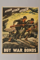 1988.42.50 front US Buy War Bonds poster depicting charging soldiers  Click to enlarge