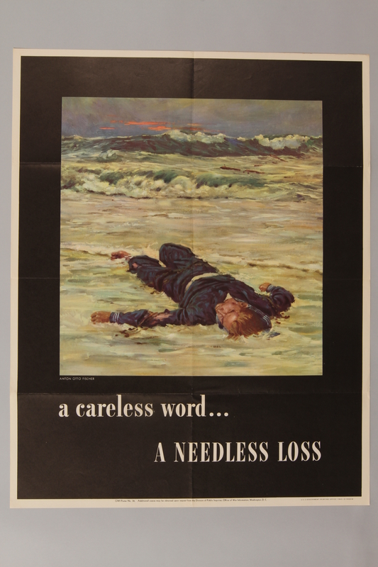 1988.42.52 front US careless talk poster with a dead US sailor on a beach