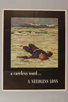 1988.42.52 front US careless talk poster with a dead US sailor on a beach  Click to enlarge