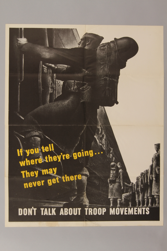 1988.42.53 front US careless talk poster depicting soldiers boarding a train