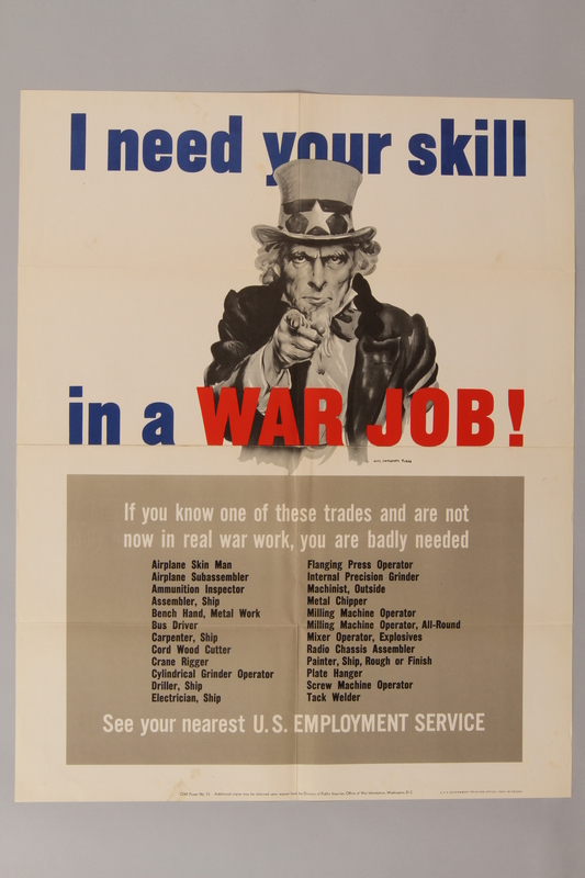 1988.42.55 front US poster depicting Uncle Sam and a list of military occupations
