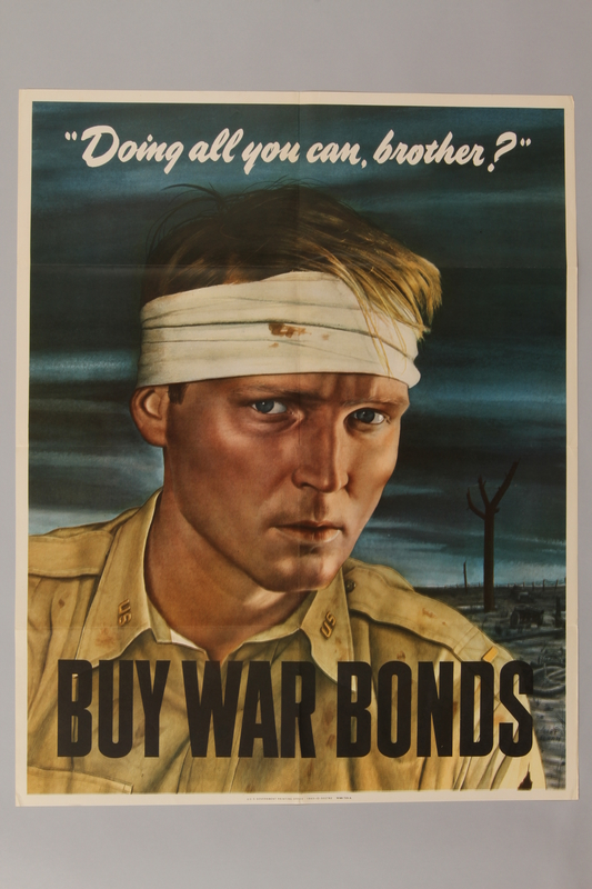 1988.42.54 front Buy War Bonds poster of a bandaged soldier