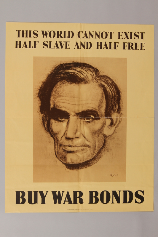 1988.42.56 front Buy War Bonds poster with portrait of Abraham Lincoln