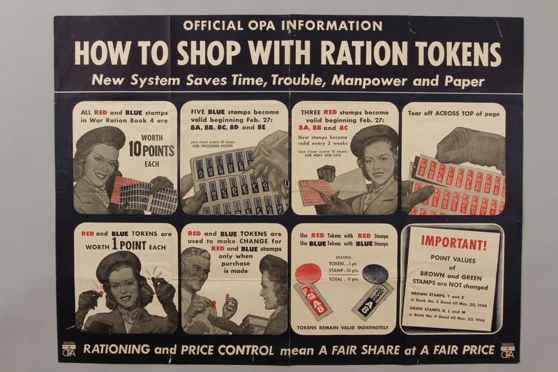 1988.42.57 front Poster instructing how to use ration tokens