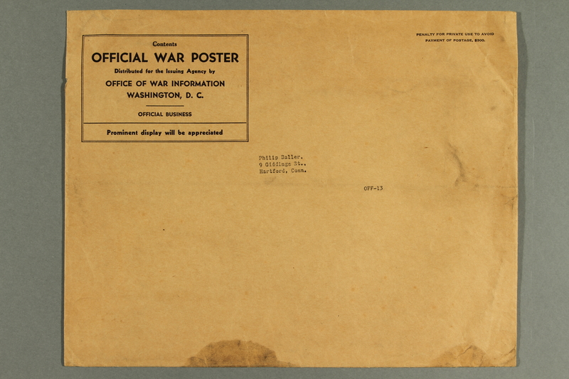 1988.42.60 b front Light brown paper envelope used for mailing war posters