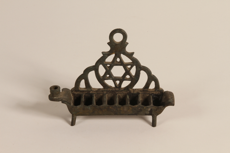 2000.530.2 front Hanukkah oil lamp from a Romanian synagogue