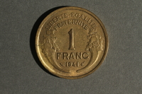 1988.106.1.4 back France currency, 1 franc coin  Click to enlarge